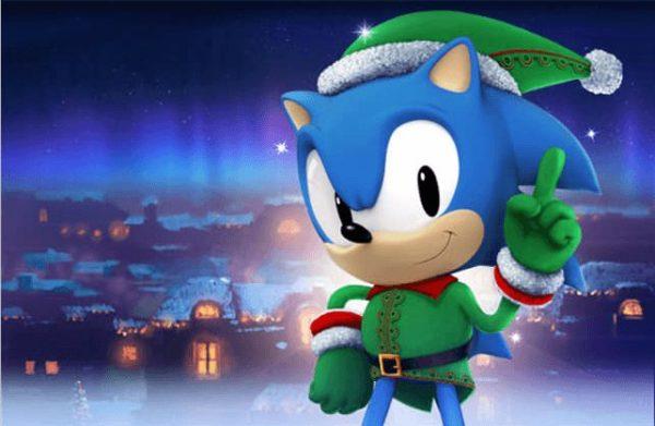 sonic con ropa navideña