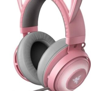 pink gamer headphones with little ears