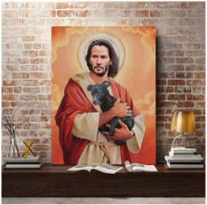 Keanu Reeves cuadro dios perrito