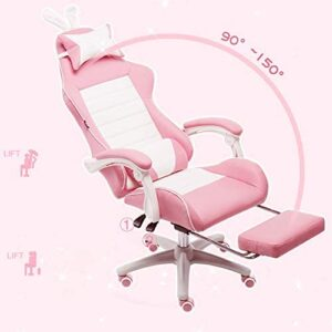WE&ZHE Pink Gamer Chair with Rabbit Ears