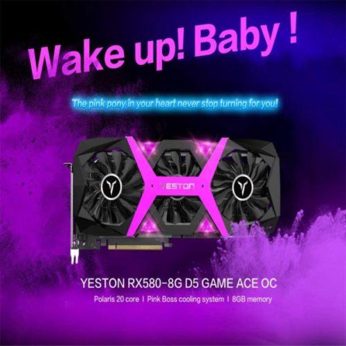 GPU YESTON RX 580 3 Fans rosa y negro