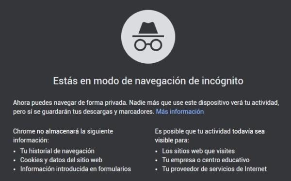 navegación en incógnito Google Chrome Junio 2020