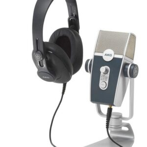 akg microphone with headphones for streamers and podcasts